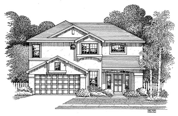 Florida House Plan 54888 Elevation
