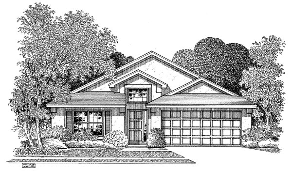 Florida House Plan 54889 with 3 Beds, 2 Baths, 2 Car Garage Elevation