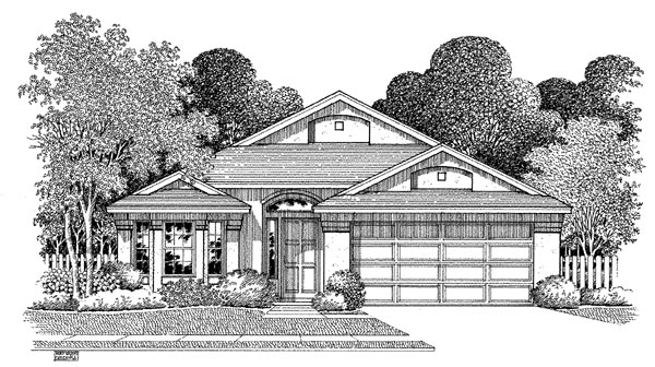 Florida House Plan 54892 with 3 Beds, 2 Baths, 2 Car Garage Elevation