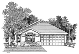 House Plan 54893 | Florida Style Plan with 1524 Sq Ft, 3 Bedrooms, 2 Bathrooms, 2 Car Garage Elevation