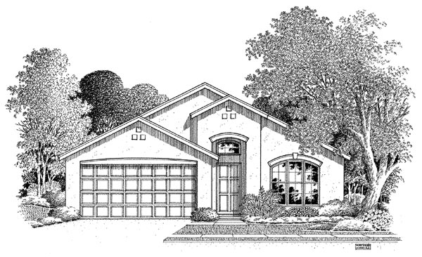 Florida House Plan 54895 with 3 Beds, 2 Baths, 2 Car Garage Elevation