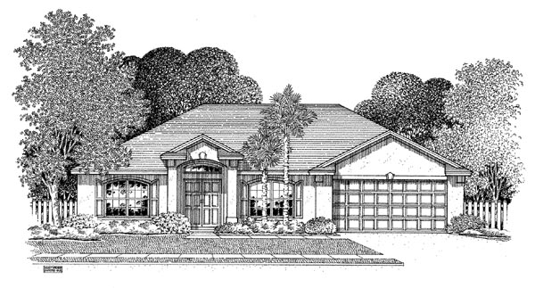 House Plan 54896 | Florida Style Plan with 1683 Sq Ft, 3 Bedrooms, 2 Bathrooms, 2 Car Garage Elevation