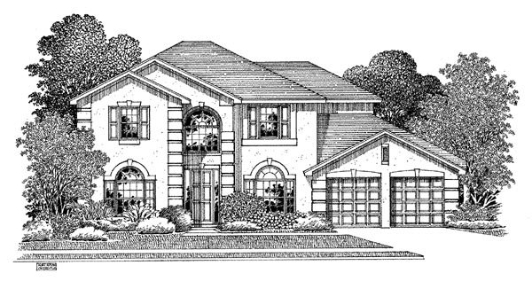 House Plan 54906 | Mediterranean Style Plan with 2726 Sq Ft, 5 Bedrooms, 3 Bathrooms, 2 Car Garage Elevation