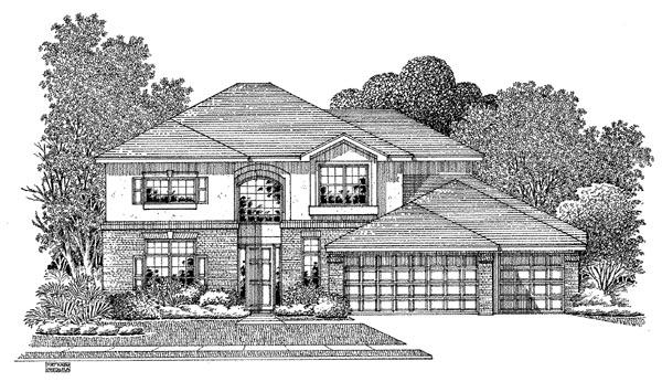 European House Plan 54907 Elevation