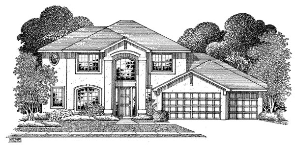 Mediterranean House Plan 54908 with 4 Beds, 3 Baths, 3 Car Garage Elevation