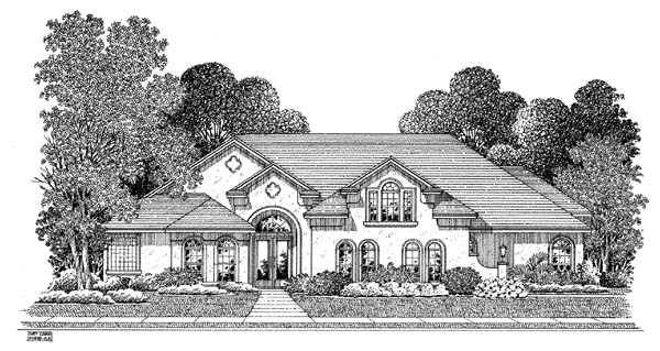Mediterranean House Plan 54910 with 4 Beds, 3 Baths, 3 Car Garage Elevation