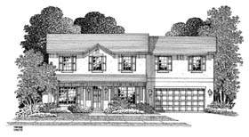 Country House Plan 54911 with 4 Beds, 2.5 Baths, 2 Car Garage Elevation