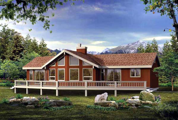 Cabin, Contemporary House Plan 55000 with 3 Beds, 2 Baths Elevation