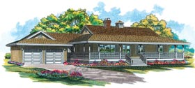 House Plan 55001 | Country Style Plan with 1541 Sq Ft, 3 Bedrooms, 2 Bathrooms, 2 Car Garage Elevation