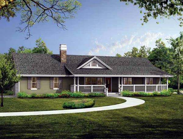 Ranch House Plan 55003 Elevation