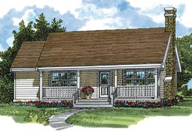 Country Ranch Elevation of Plan 55014