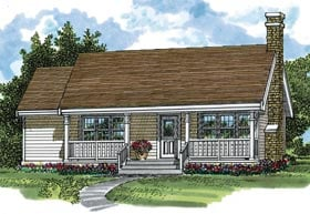 Country Ranch House Plan 55014 Elevation