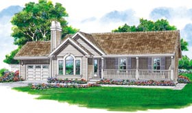 Country Ranch Elevation of Plan 55019
