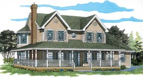 Farmhouse Southern House Plan 55020 Elevation