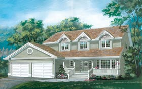 Country House Plan 55023 with 4 Beds, 3 Baths, 2 Car Garage Elevation
