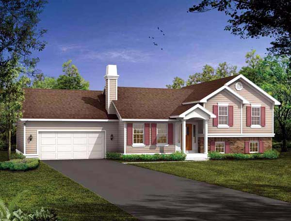 Traditional House Plan 55029 with 3 Beds, 2 Baths, 2 Car Garage Elevation