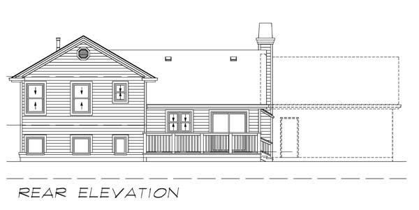 Traditional House Plan 55029 with 3 Beds, 2 Baths, 2 Car Garage Rear Elevation