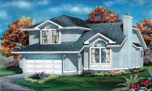 House Plan 55034 | Contemporary Style Plan with 1710 Sq Ft, 3 Bedrooms, 3 Bathrooms, 2 Car Garage Elevation