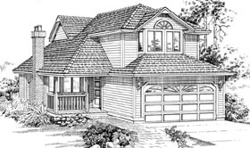 House Plan 55036 | Contemporary Style Plan with 1748 Sq Ft, 3 Bedrooms, 3 Bathrooms, 2 Car Garage Elevation