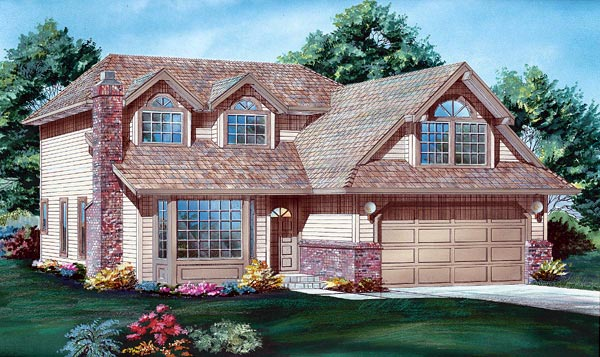 Narrow Lot, Traditional House Plan 55037 with 3 Beds, 3 Baths, 2 Car Garage Elevation