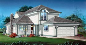 Contemporary , Narrow Lot House Plan 55038 with 3 Beds, 3 Baths, 2 Car Garage Elevation