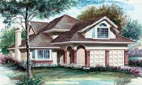 European House Plan 55045 Elevation