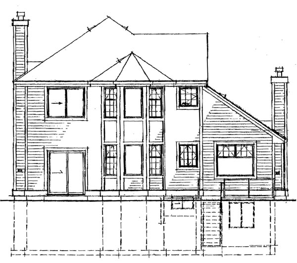 European House Plan 55045 Rear Elevation