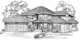 Contemporary House Plan 55047 with 5 Beds, 3 Baths, 2 Car Garage Elevation