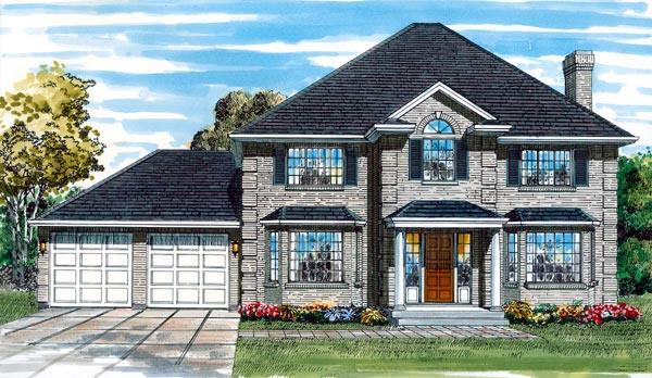 European House Plan 55051 with 4 Beds, 3 Baths, 2 Car Garage Elevation