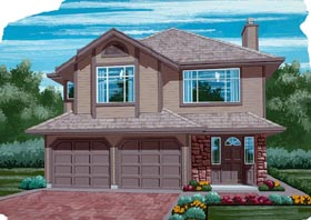House Plan 55054 | Contemporary Style Plan with 1375 Sq Ft, 3 Bedrooms, 2 Bathrooms, 2 Car Garage Elevation