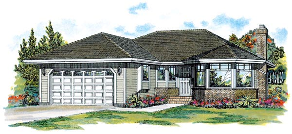Traditional House Plan 55057 with 3 Beds, 2 Baths, 2 Car Garage Elevation