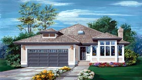 Contemporary House Plan 55058 with 3 Beds, 2 Baths, 2 Car Garage Elevation