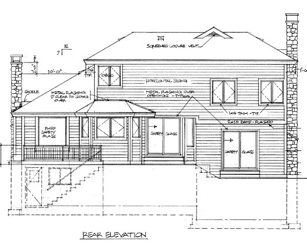 Contemporary House Plan 55060 Rear Elevation