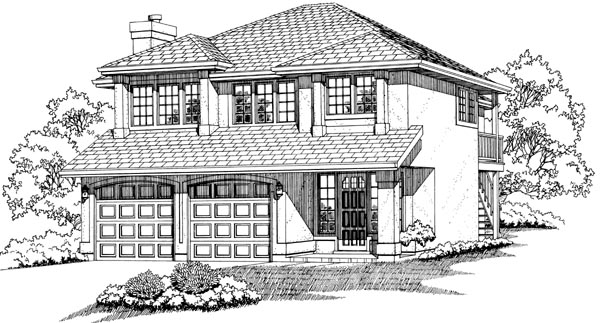 Contemporary House Plan 55061 with 3 Beds, 2 Baths, 2 Car Garage Elevation