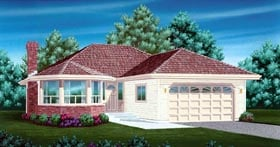 House Plan 55068 | Contemporary Style Plan with 1616 Sq Ft, 3 Bedrooms, 2 Bathrooms, 2 Car Garage Elevation