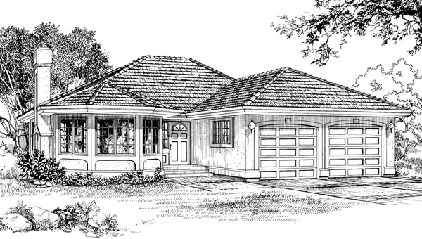 Florida, One-Story House Plan 55071 with 3 Beds, 2 Baths, 2 Car Garage Elevation