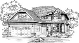 European House Plan 55072 with 3 Beds, 3 Baths, 2 Car Garage Elevation