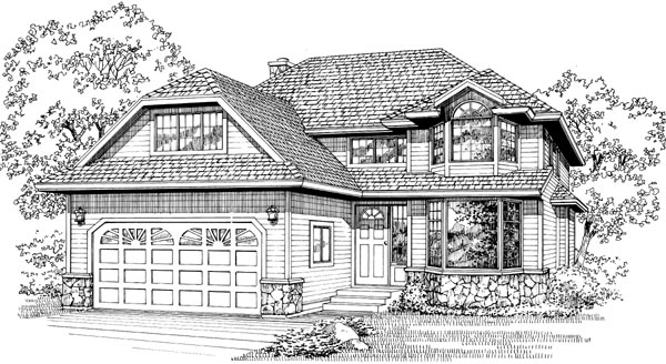 European House Plan 55072 Elevation