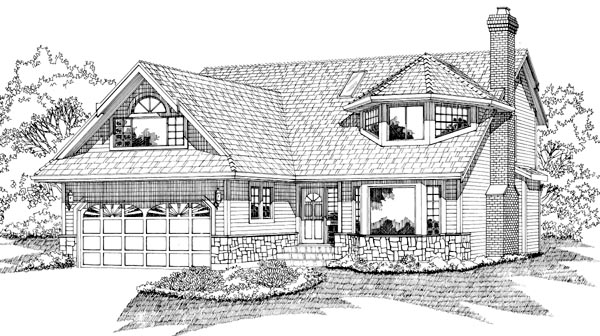 Contemporary House Plan 55074 with 3 Beds, 3 Baths, 2 Car Garage Elevation