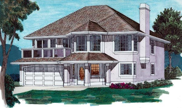 Florida, Narrow Lot House Plan 55082 with 3 Beds, 2 Baths, 2 Car Garage Elevation