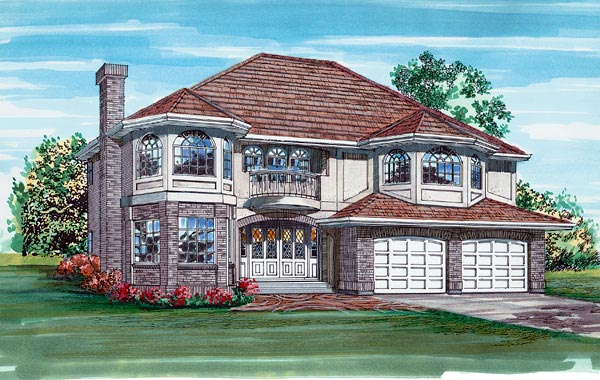 European House Plan 55084 Elevation
