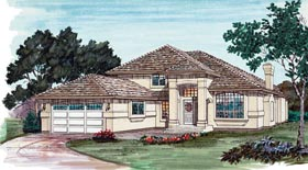 Florida House Plan 55087 with 3 Beds, 3 Baths, 2 Car Garage Elevation