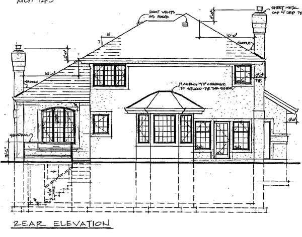 Florida House Plan 55087 with 3 Beds, 3 Baths, 2 Car Garage Rear Elevation