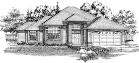Traditional House Plan 55093 with 3 Beds, 2 Baths, 2 Car Garage Elevation