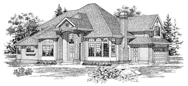 European House Plan 55095 Elevation