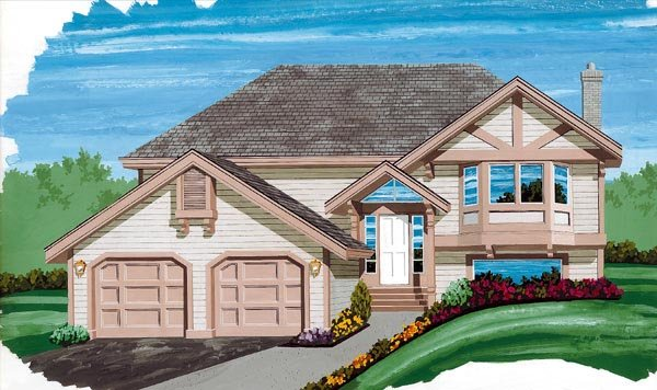 One-Story, Tudor House Plan 55098 with 3 Beds, 2 Baths, 2 Car Garage Front Elevation