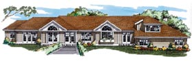 House Plan 55099   Ranch Style Plan with 2466 Sq Ft, 3 Bedrooms, 3 Bathrooms, 2 Car Garage Elevation