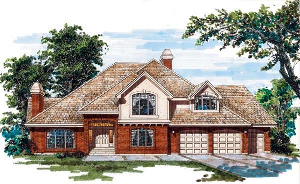 European House Plan 55102 with 4 Beds, 4 Baths, 3 Car Garage Elevation