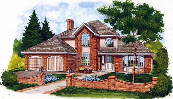 European House Plan 55103 Elevation