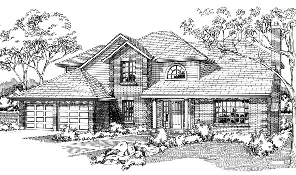 European House Plan 55110 with 4 Beds, 3 Baths, 2 Car Garage Elevation